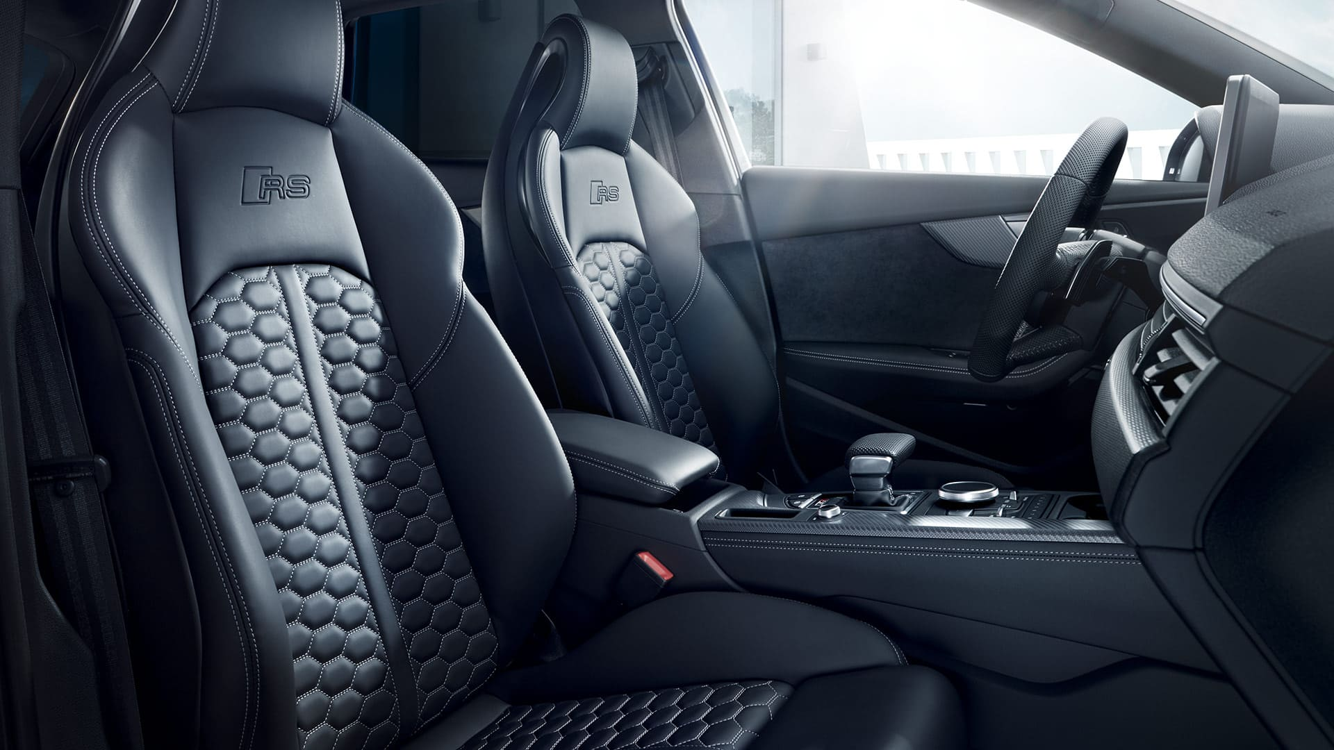 The interior of the Audi RS 4 Avant is sporty and practical.